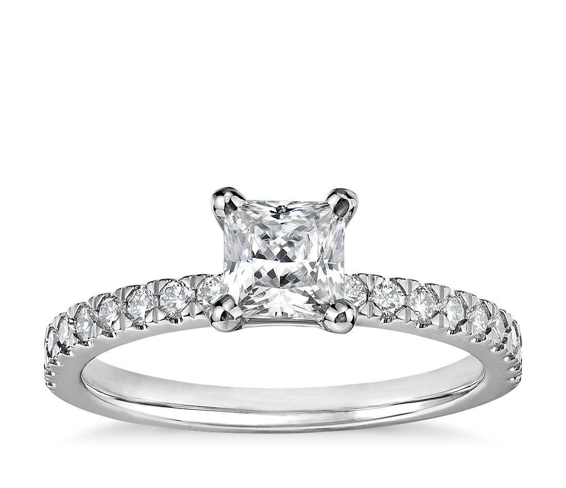 1/2 Carat Preset Princess-Cut Petite Pavé Diamond Engagement Ring in 14k White Gold