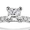 1/2 Carat Preset Princess-Cut Petite Pavé Diamond Engagement Ring in 14k White Gold