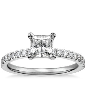3/4 Carat Preset Princess-Cut Petite Pavé Diamond Engagement Ring in 14k White Gold