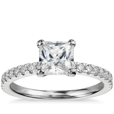 1 Carat Preset PrincessCut Petite Pav Diamond Engagement Ring in