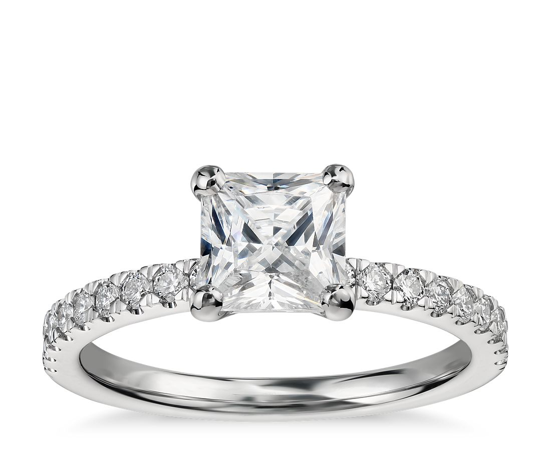 1 Carat Preset Princess Cut Petite Pave Diamond Engagement Ring In 14k White Gold