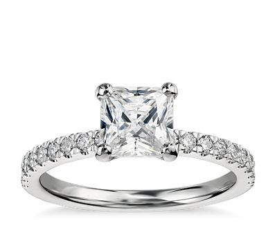 1 Carat Preset Princess-Cut Petite Pavé Diamond Engagement Ring in 14k White Gold