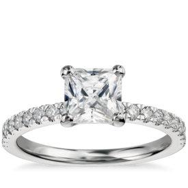1 Carat Preset Princess-Cut Petite Pavé Diamond Engagement Ring in 14k White Gold