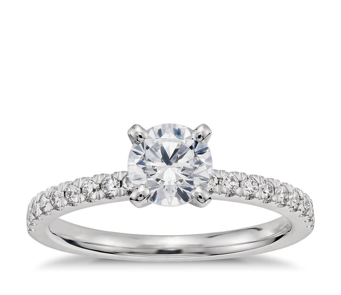 3/4 Carat Preset Petite Pavé Diamond Engagement Ring in 14k White Gold