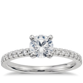 3/4 Carat Preset Petite Pavé Diamond Engagement Ring in 14k White Gold