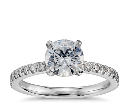 1 Carat Preset Petite Pavé Diamond Engagement Ring in 14k White Gold