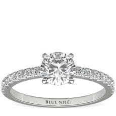 3/4 克拉可供发货14k 白金小巧密钉钻石订婚戒指
