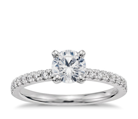 3/4 Carat Ready-to-Ship Petite Pavé Diamond Engagement Ring in 14k White Gold