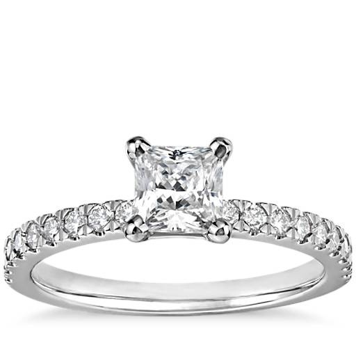 Blue Nile Princess Cut Petite Pave Diamond Engagement Ring