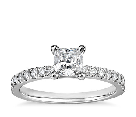 1/2 Carat Ready-to-Ship Princess-Cut Petite Pavé Diamond Engagement Ring in 14k White Gold