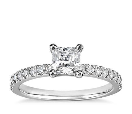 1/2 克拉 14k 白金公主方形小巧密釘鑽石訂婚戒指,現貨供應