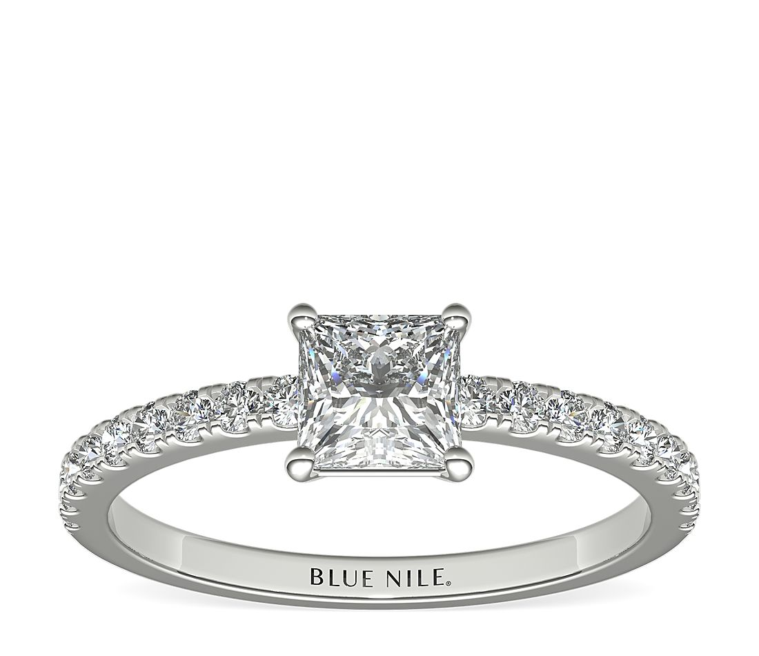 3/4 Carat Ready-to-Ship Princess-Cut Petite Pavé Diamond Engagement Ring in 14k White Gold