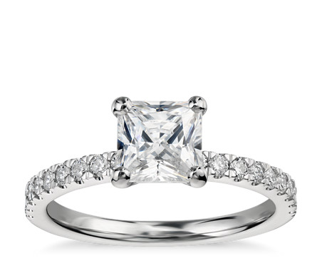 1 Carat Ready-to-Ship Princess-Cut Petite Pavé Diamond Engagement Ring in 14k White Gold