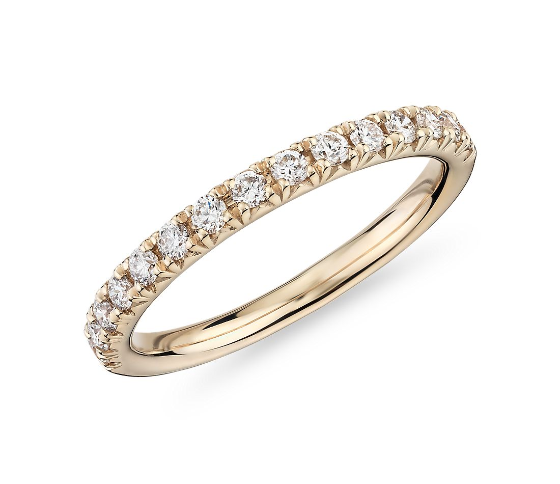 French Pavé Diamond Ring in 18k Yellow Gold