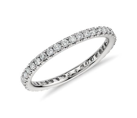 Bague d'éternité en diamants sertis pavé de petite taille en or blanc 14carats