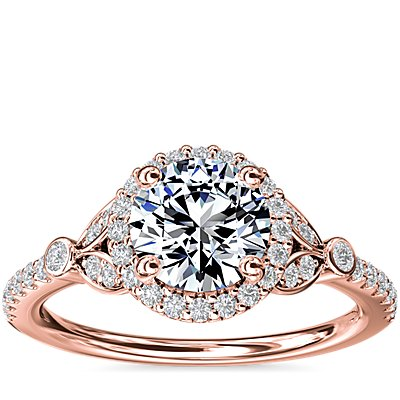 NEW Petite Pavé Leaf Halo Diamond Engagement Ring in 14k Rose Gold (1/4 ct. tw.)