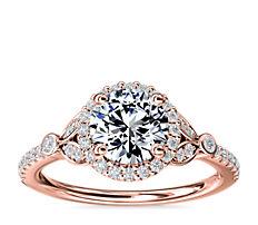 新款 14k 玫瑰金小巧密钉叶状光环钻石订婚戒指<br>(1/4 克拉总重量)