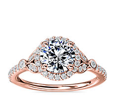 Petite Pavé Leaf Halo Diamond Engagement Ring in 14k Rose Gold (1/4 ct. tw.)