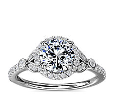 Petite Pavé Leaf Halo Diamond Engagement Ring in 14k White Gold (1/4 ct. tw.)