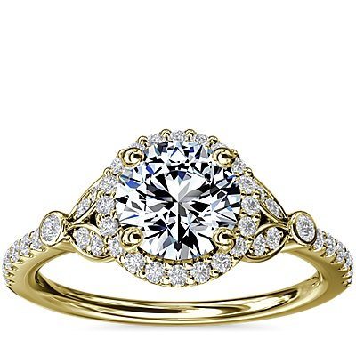 NEW Petite Pavé Leaf Halo Diamond Engagement Ring in 14k Yellow Gold (1/4 ct. tw.)