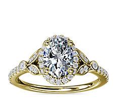 Anillo de compromiso petite de diamantes con halo y diseño de hoja en oro amarillo de 14k (1/4 qt. total)