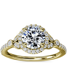 Petite Pavé Leaf Halo Diamond Engagement Ring in 14k Yellow Gold (1/4 ct. tw.)