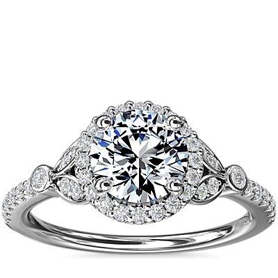 鉑金小巧密釘葉片光環鑽石訂婚戒指(1/4 克拉總重量)