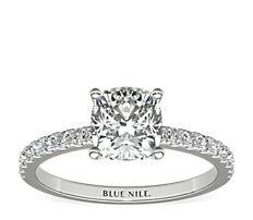 铂金小巧密钉钻石订婚戒指<br>(1/4 克拉总重量)