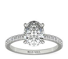 鉑金小巧密釘鑽石訂婚戒指(1/4 克拉總重量)