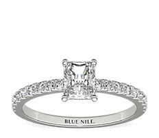Petite Pavé Diamond Engagement Ring in Platinum (1/4 ct. tw.)