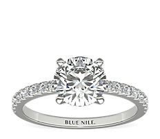 铂金小巧密钉钻石订婚戒指(1/4 克拉总重量)