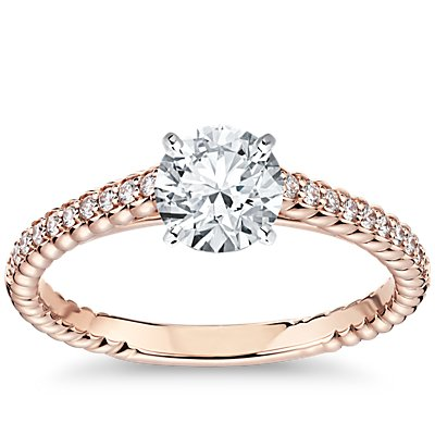 Petite Pave Roped Cathedral Diamond Engagement Ring in 14k Rose Gold