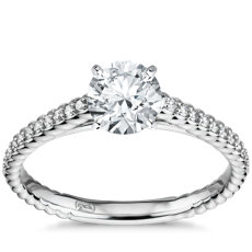 Petite Pave Roped Cathedral Diamond Engagement Ring in 14k White Gold