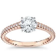 Petite Pave Roped Cathedral Diamond Engagement Ring in 14k Rose Gold (0.16 ct. tw.)