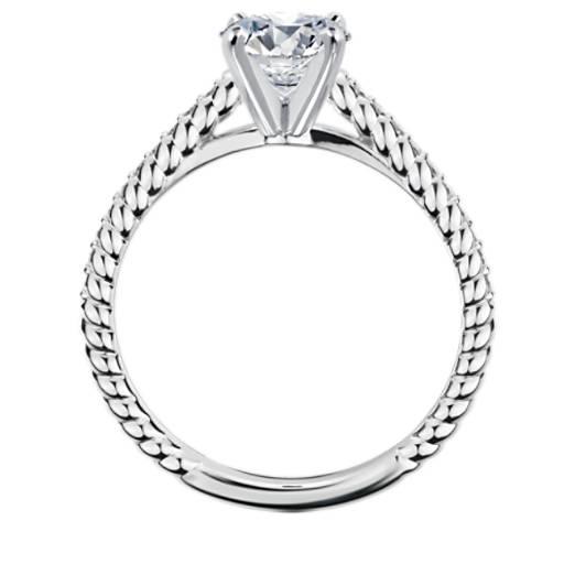Petite bague de fiançailles corde de diamants sertis pavé sur monture cathédrale