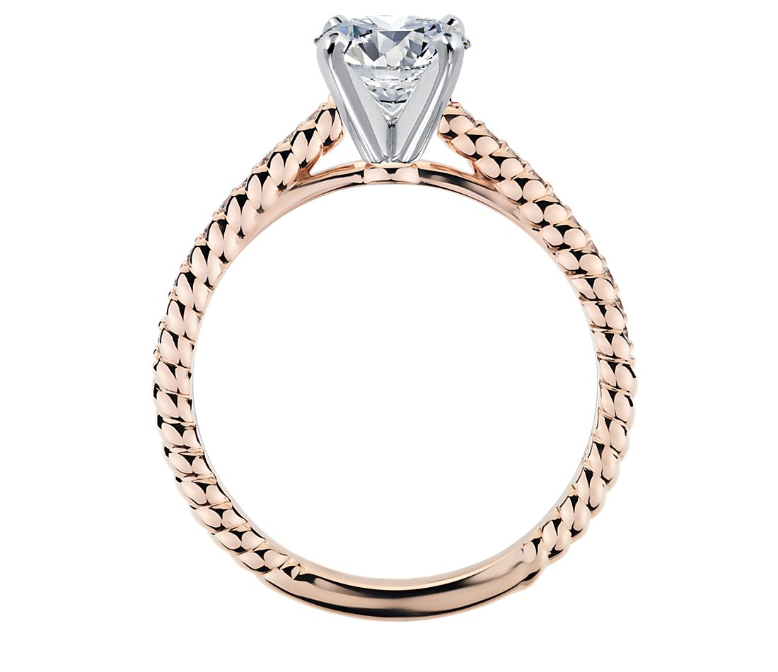 Petite Pave Roped Cathedral Diamond Engagement Ring In 14k