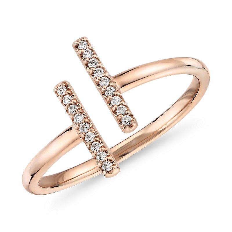 Delicate Pavé Split Bar Diamond Fashion Ring in 14k Rose G