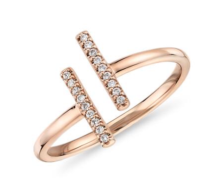 14k 玫瑰金 精緻密釘分叉長條鑽石時尚戒指