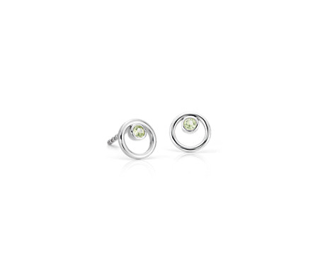 Petite Open Circle Peridot Birthstone Earrings in 14k White Gold (2mm)