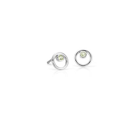 14k 白金 小巧空心圓圈橄欖石誕生石耳環<br>( 2毫米)