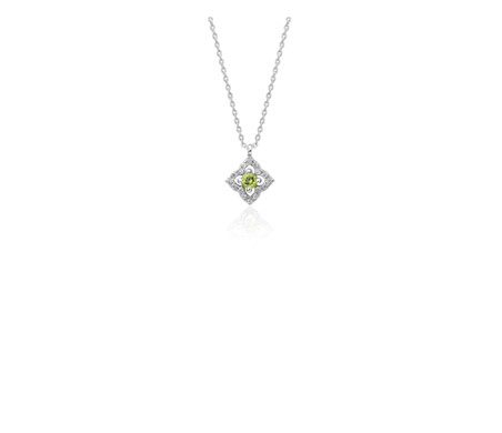 Petite Peridot and Diamond Floral Pendant in 14k White Gold (2.8mm)