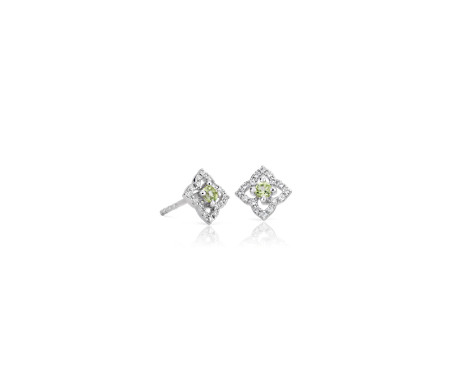 Petite Peridot Floral Stud Earrings in 14k White Gold (2.4mm)