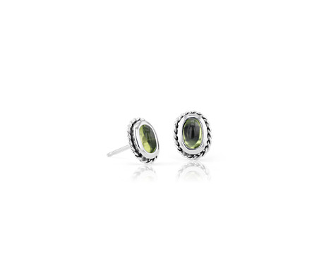 Petite Peridot Studs with Rope Halo in Sterling Silver (5x3mm)
