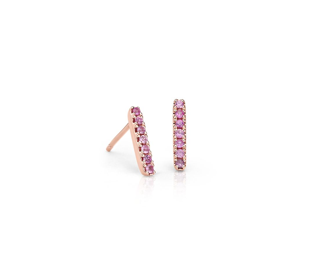 Petite Pink Sapphire Pavé Bar Stud Earrings in 14k Rose Gold (1.5mm)