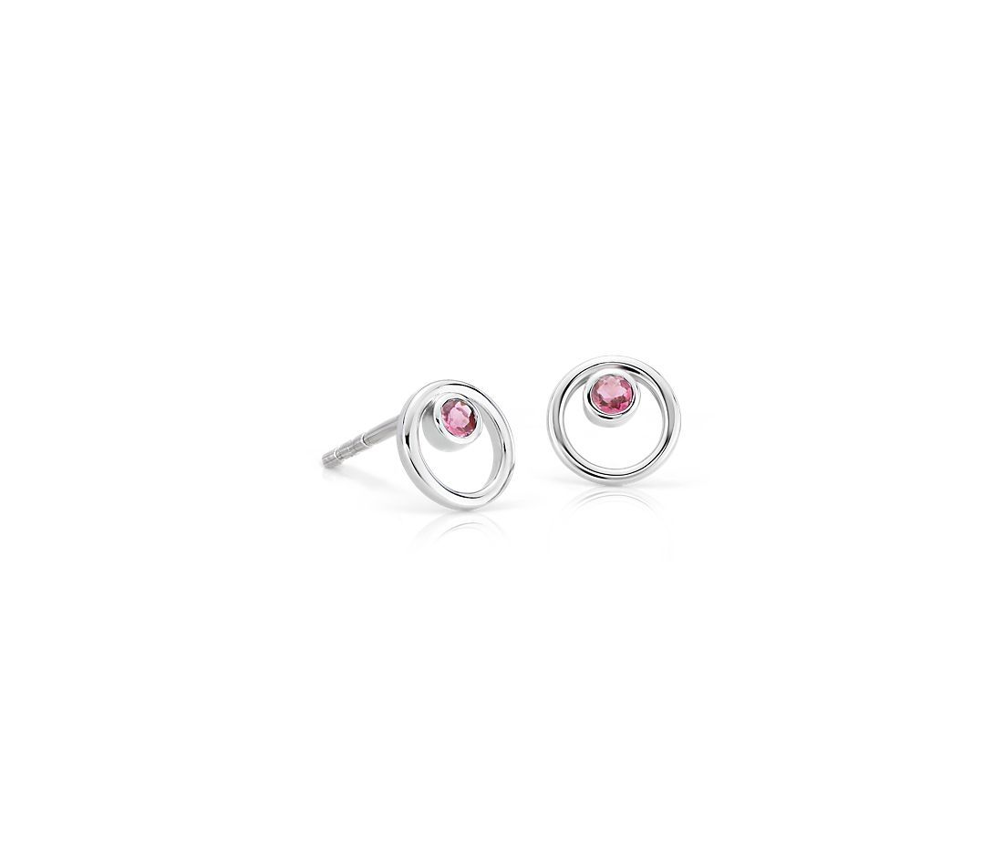Petite Open Circle Pink Tourmaline Birthstone Earrings in 14k White Gold (2mm)