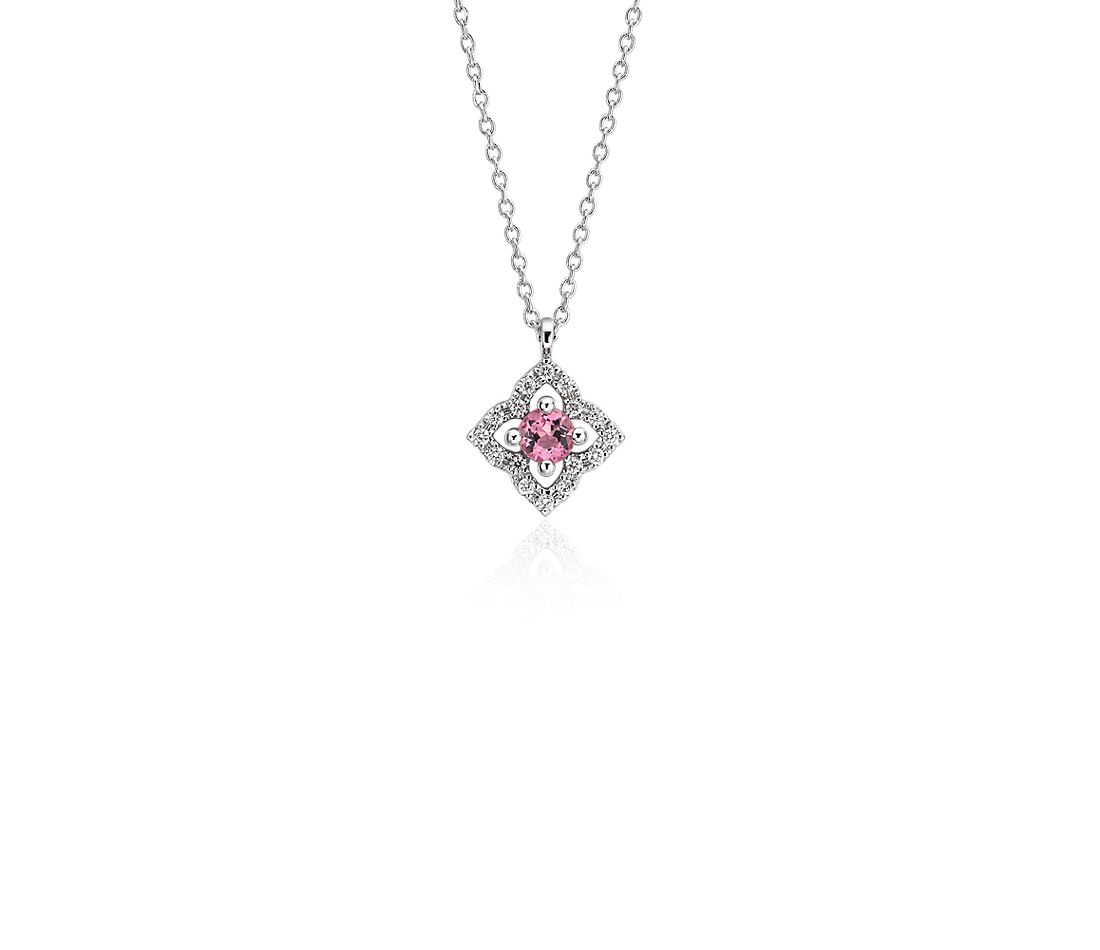 Petite Pink Tourmaline and Diamond Floral Pendant in 14k White Gold (2.8mm)