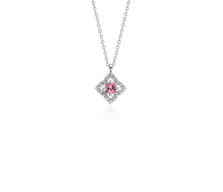 Blue Nile Petite Pink Tourmaline and Diamond Floral Pendant in 14k White Gold (2.8mm) YQpP2gwoJ