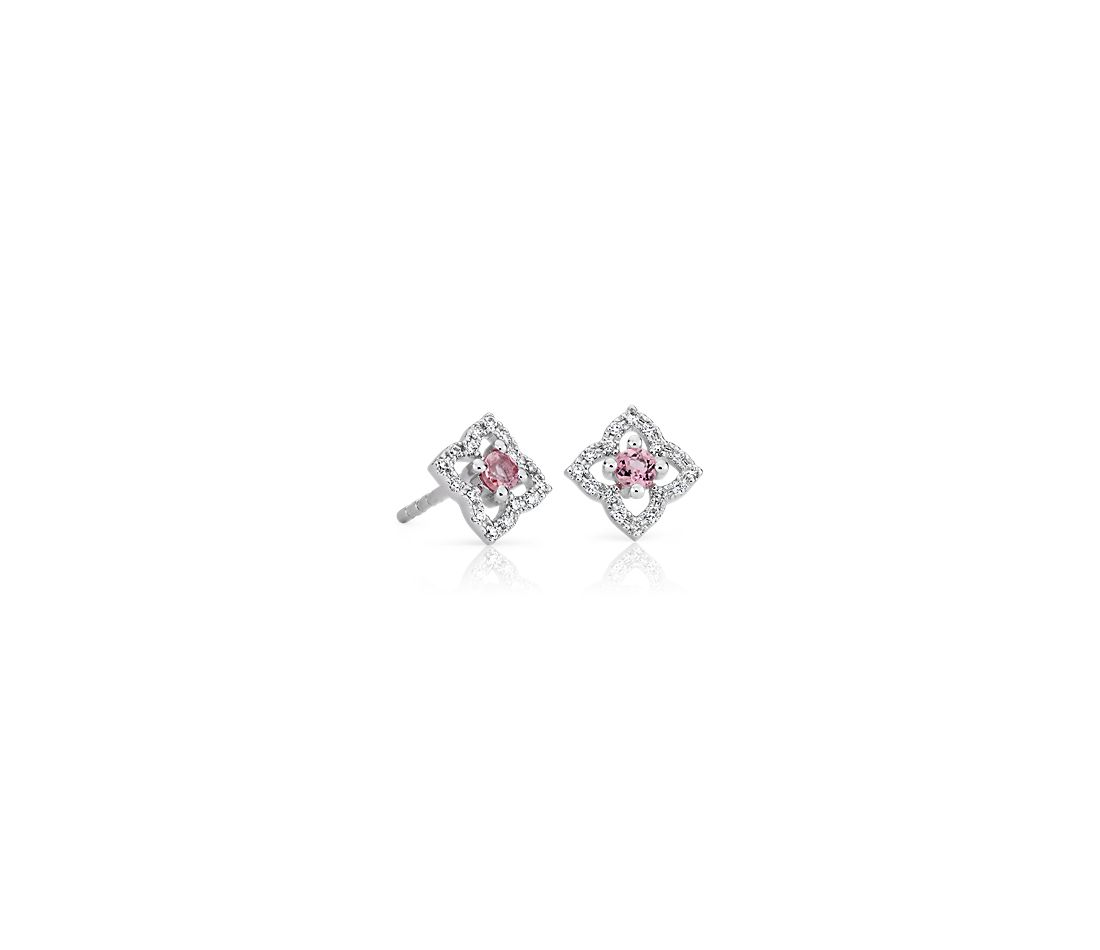Petite Pink Tourmaline Floral Stud Earrings in 14k White Gold (2.4mm)