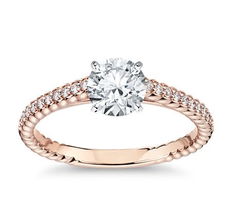 Petite Roped Cathedral Diamond Engagement Ring in 14k Rose Gold