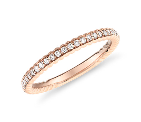 Stackable Diamond Milgrain Women Wedding Ring Bands In 14k Rose Gold Fd8131b Nl Rg